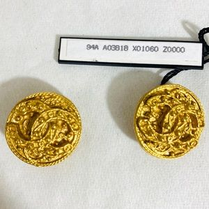AUTHENTIC CHANEL BUTTON CC CLIP ON EARRINGS